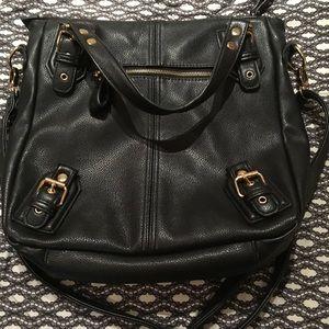 Black Faux Leather Forever 21 Hobo Bag